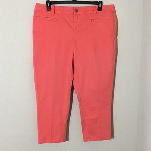 Lane Bryant Dress Capri Pants Coral Sz 18